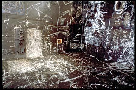 Stephen Alarid, The Room 1994, installation, white enamel on tar paper