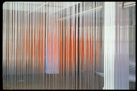 Simon Aldridge, Hot Fun in the Summertime 2001, plastic rod, fishingline, celing panel, paint