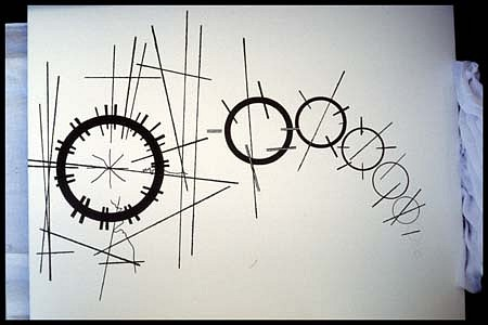 Henrietta Alele, Plan of emotions showing variation from the confused intensity of a nowto an absolute simplification in time 1995, acrylic, ground copper
