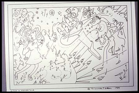 Ta-coumba Aiken, Allise in Wanderland 1984, pen and ink