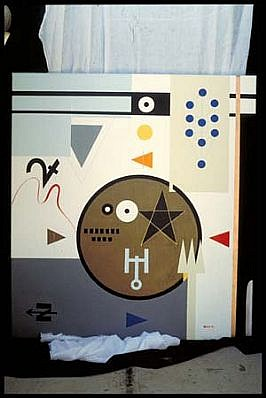 Henrietta Alele, Plan of spell to dispense with depression- magic as object of confrontation 1995, acrylic, ground copper, oils