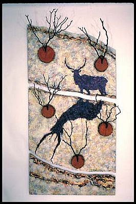 Francisco Alvarado-Juarez, Reindeer: Trophy #6 1989, acrylic on plywood, with wood slabs and branches