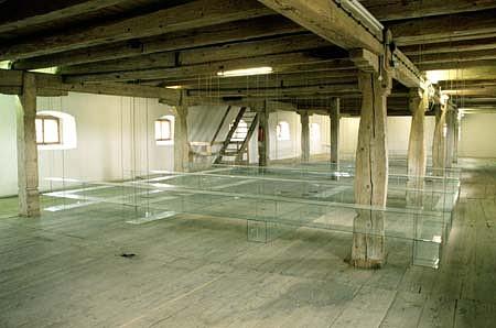 Jan Ambruz, Prisms II 1997, glass, strings