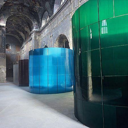 Jan Ambruz, Cylinders 2001, glass, bamboo