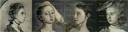 Kenneth Aptekar, Loved 2000, oil on wood, sandblasted glass, bolts, four panels