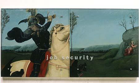 Kenneth Aptekar, Job Security 1991, oil/wood, sandblasted glass, bolts