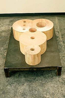 Polly Apfelbaum, The Mickey Mocker 1988, wood, steel base