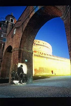 Shimon Attie, Under Castle of St. Angelo 2003, on-location slide projection