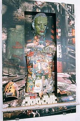 Patricia Atlas, Male Product 1996, wood, printed metal, photographs, plexi-glass, cigarettes