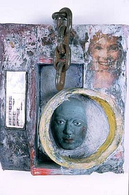 Patricia Atlas, Untitled 1997, cement, metal, acrylic paint, photograph, acrylic sheet