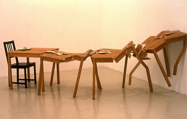 Beth Campbell, Crashing Tables (Moments Crashing...I Underestimated the Consequences) 2005, balsa wood