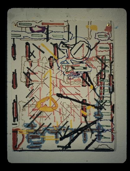 James F. L. Carroll, A Plan to Build 2007, oil markers, oil sticks on hand made paper