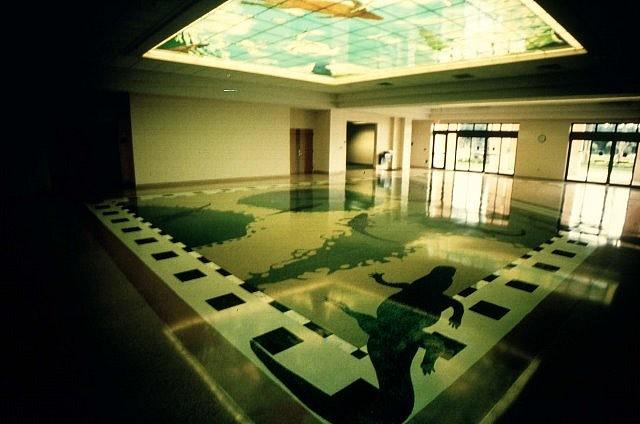 Carl Cheng, Everglades Trespass 2000, digital celing panels, terrazzo floor