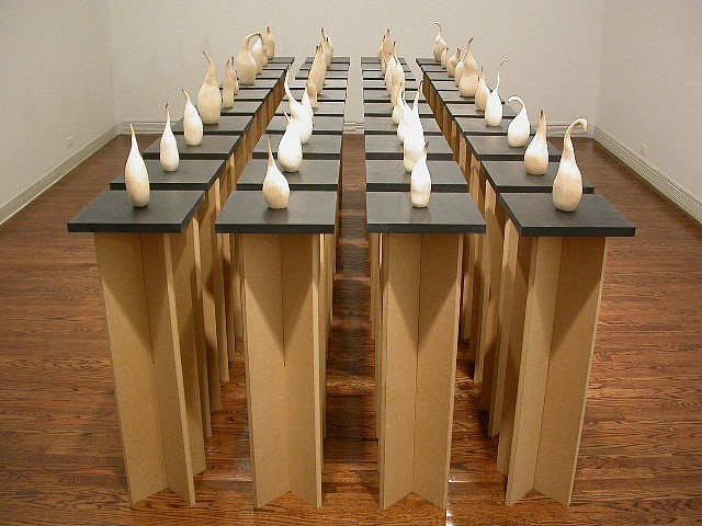 Kyoung Ae Cho, Standing Alone 2003, burn marks on wood