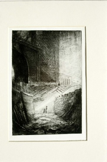 Paul Clark, Viaduct with Figures 1990, etching