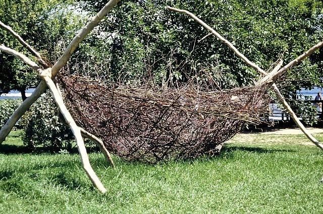 Ursula Clark, Ancient Vessel 2000, birch, vines, willow