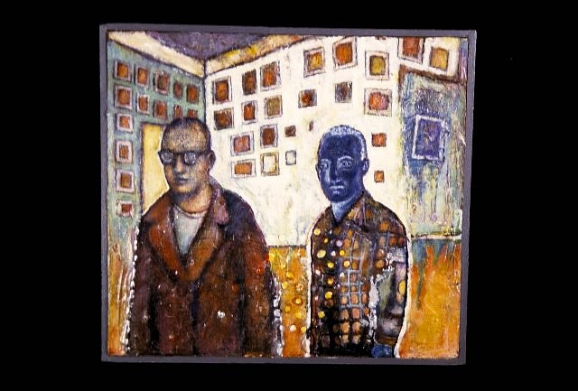 John Carey, Two Figures 2000, acrylic on wood
