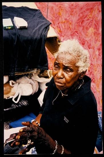 Rosemarie Chiarlone, I'm Not Homeless 2004, hand painted silver gelatin print