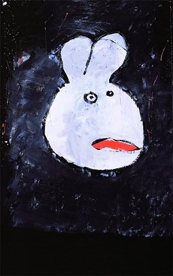 Laura Castellanos, bummer bunny 2006, acrylic on tar paper