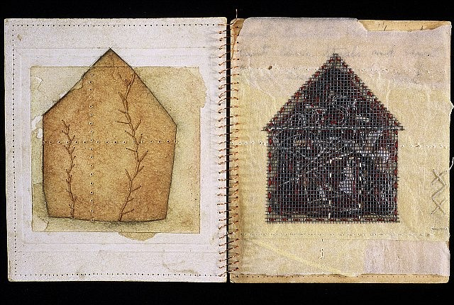 Crystal Cawley, Contained 2003, paper, thread, copper wire, collage, graphite