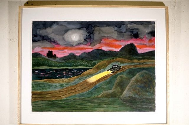 Carmen Cicero, Sunset and Car 1989, watercolor