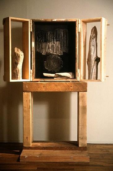 Rimer Cardillo, Lost Forest Reliquary 1989, wood, paper relief, pigments, plexiglass