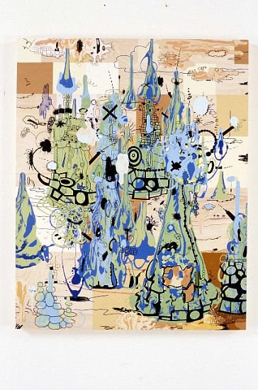 Jane Fine, Battlefield No. 1 2003, acrylic and ink on wood