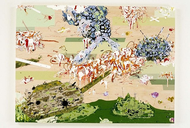 Jane Fine, Battlefield No. 3 2003, acrylic and ink on wood