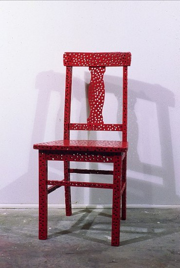 Paul Forte, Riddled Chair 2002, painted oak chair with 1/4 inch holes