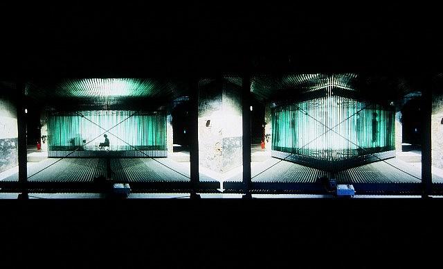 Ivana Franke, Frameworks (In collaboration with P.Miskovic, L. Pelivan, T. Plejic) 2004, steel construction, glass frames, electric motor, concrete platforms