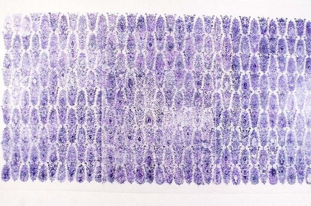 Nancy Friedemann, Byzantine Grid 2004, ink on mylar
