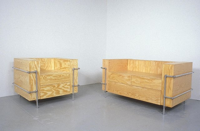 Barbara Gallucci, Couch and Chair 2004, plywood and aluminum