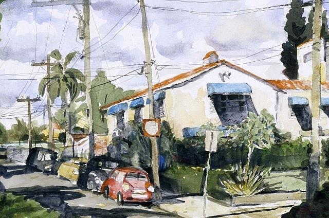 Selwyn Garraway, Street Scene, Florida 2003, watercolor on paper