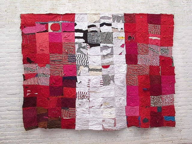 Luis Garcia Zapatero, Peruvian Flag 1996, patchwork made of cleaning rags