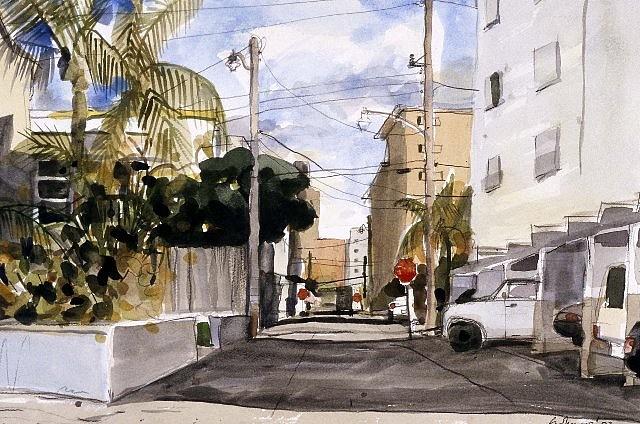 Selwyn Garraway, Alley, Florida 2003, watercolor on paper