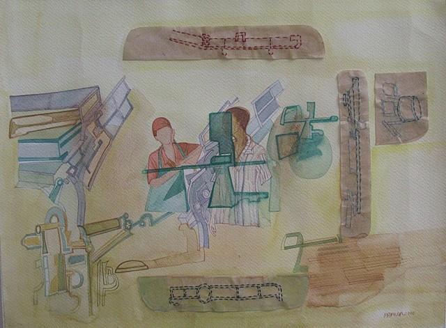 Mahula Ghosh, Man Machine 2010, watercolor, stitch on fabriano paper