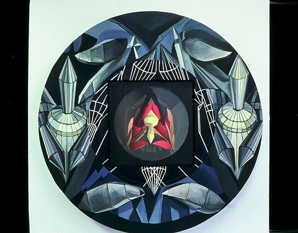 Jessica Gondek, Heart Dart 2 2004, oil on canvas and digital print
