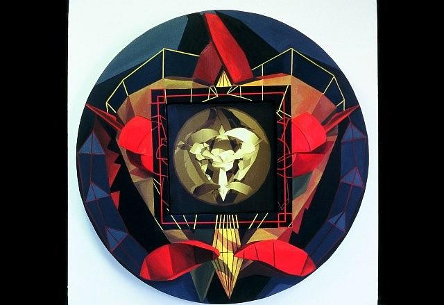 Jessica Gondek, Heart Dart 1 2004, oil on canvas and digital print
