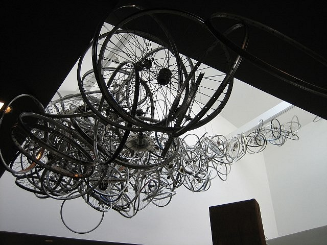 Mark Grieve, Suspended Wheel Composition 2008, discarded bicycle wheels