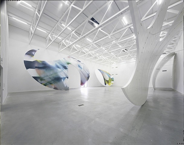 Katharina Grosse, Shadowbox, Installation view Temporare Kunsthalle Berlin 2009, acrylic on laminated styrofoam