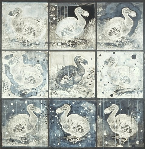 Mary Hambleton, 9 Dodos 2008, polymer collage on panel
