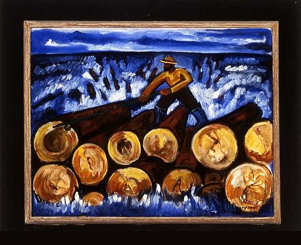 Arthur Hammer, Log Rolling 2005, oil on masonite