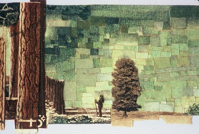 Jonathan Herder, Falling Branch (Detail) 2002, postage stamps collaged on paper
