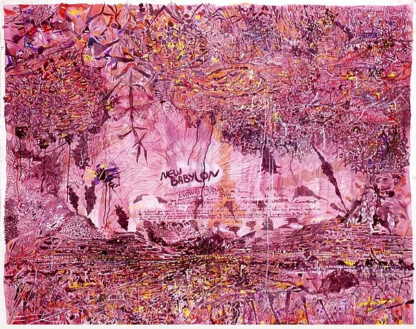 Arturo Herrera, New Babylon- Situacioniastas en Adversidad Tecnica 2007, acrilico, tinta, gouache, crayon, grafito sobre tela