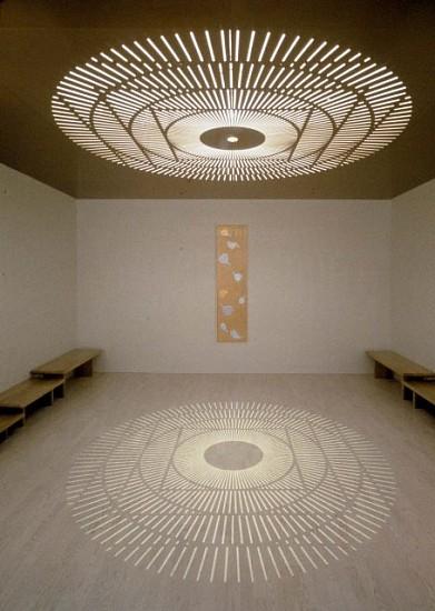 Jim Hirschfield, Meditation Room, Doernbecher Children's Hospital 1998, aluminum, gold leaf, wood, brass, light, orchids