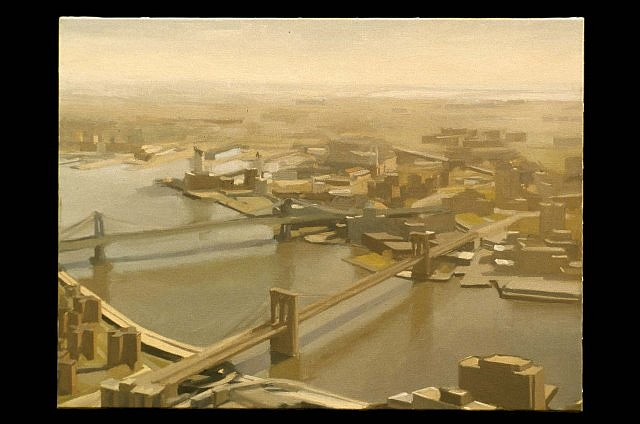 Diana Horowitz, East River and Bridges 2001, oil on canvas