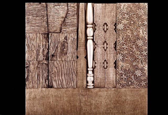Sandria Hu, Veraruz Landscape 2004, wood relief, oil, silver leaf