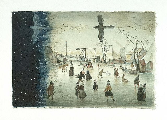 Konstantin Kalynovych, Goodbye, Avercamp IV 2006, watercolor