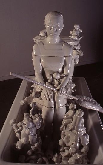 Yoshiko Kanai, Home Hunter 1998, porcelain, iron