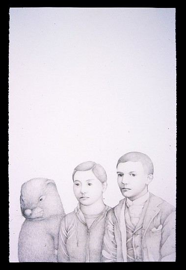 Haegeen Kim, Hard workers: Beaver, Pablo and I 2006, colored pencil on paper